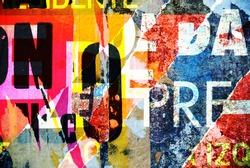 Photograph of random collage background or typography texture design