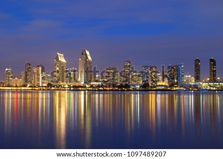 Photograph of San Diego skyline at blue hour #1097489207