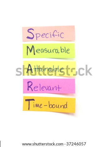 Photograph of several sticky notes labeled wtih the word SMART which means the goals Specific, Measurable, Attainable, Relevant, time Bound.