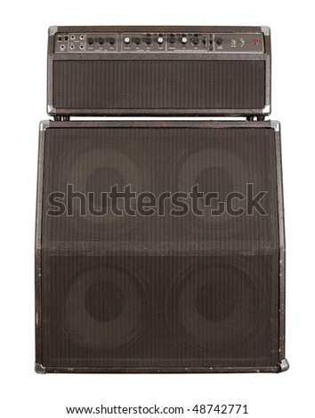 Photograph of the front of a combo guitar amplifier with speaker cabinet. Clipping path included.