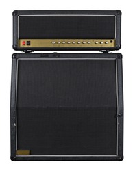 Photograph of the front of an old combo guitar amplifier with speaker cabinet.