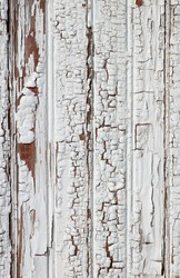 Photograph of the interesting peeling, bubbling and worn wooden side of a white storage structure in an old farming community.  Could be used as a texture or background.