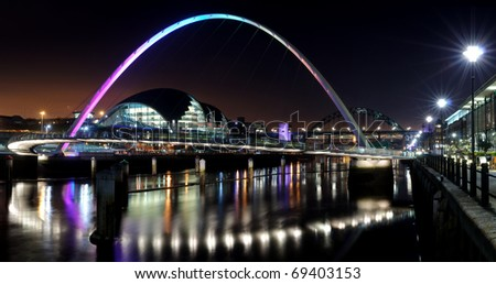 Photograph of the Quayside at Newcastle/Gateshead taken at night time.