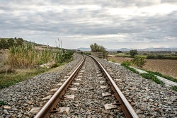 Photograph of the railway in the countryside of Sardinia