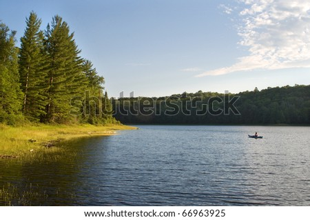 Photograph of the sunny side of a remote northwoods lake in Wisconsin in early evening as the sun dips low in the sky.
