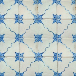 Photograph of traditional portuguese tiles in blue