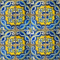 Photograph of traditional portuguese tiles in blue and yellow