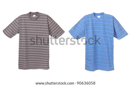 Photograph of two striped t-shirts, grey and blue