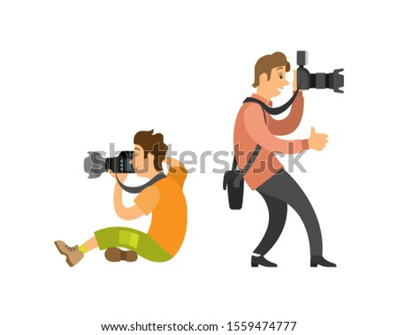 Photograph reporter at work, photographer and paparazzi, modern cameras with flash. Man taking photos, journalist raster illustrations isolated on white