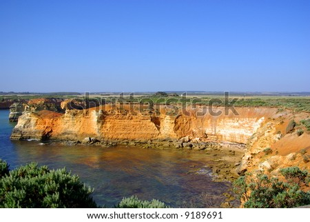 Photograph taken at the site of the Bay of Islands on the Great Ocean Road looking back towards the cliff face (Australia).