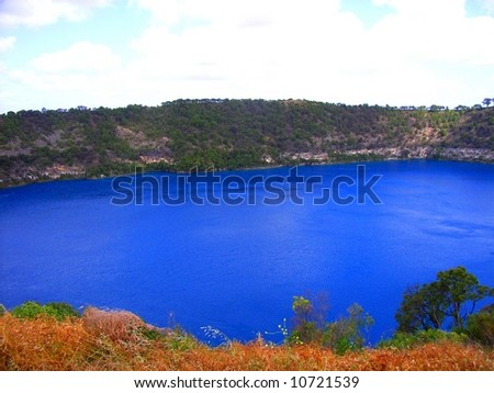 "Photograph taken of the ""Blue Lake"" at Mt Gambier (in red), Australia."