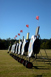 Photographed is a line of archery targets on an archery field.
