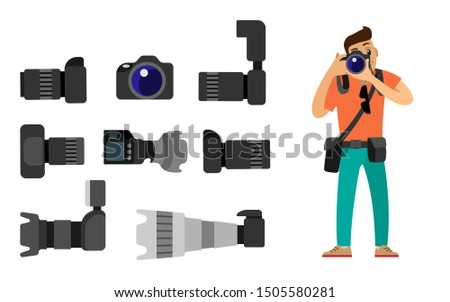 Photographer and gear with flash and zoom function, photojournalist and photographing equipment. High resolution action cameras with lens raster isolated