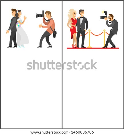 Photographer and paparazzi online vertical banners set. Wedding photo, bride next to groom, celebrities couple on red carpet raster illustrations.