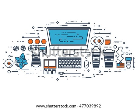 Photographer equipment on a table. Photography tools, photo editing, photoshooting flat background. Digital photocamera with lens.Line art
