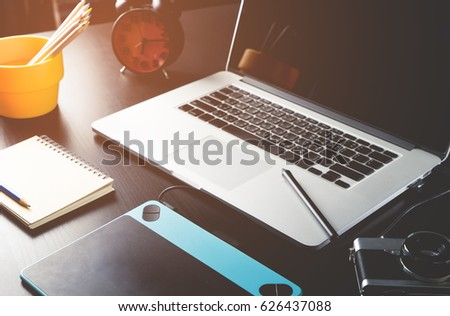 Photographer Graphic designer working table