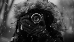 Photographer in the cold French winter