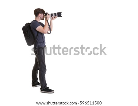 Photographer isolated on white background. #596511500