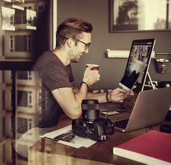 Photographer Journalist Working Studio Agency  Concept