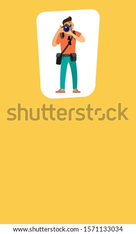 Photographer man making picture, carrying case on belt and bag of lenses raster poster with text sample. Freelancer with digital camera taking photo.