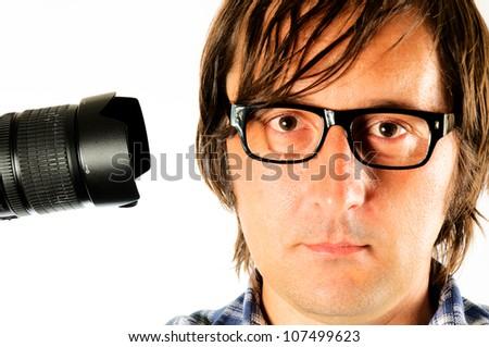 Photographer shot yourself isolated