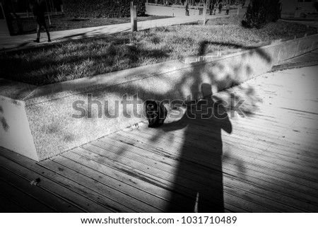 photographer uses his shadow to catch a kitten street. cat sitting in the shadow of a man. magnificent light and marvelous shadows in street photography in black and white.
