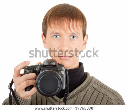 photographer with a photocamera close up on white background