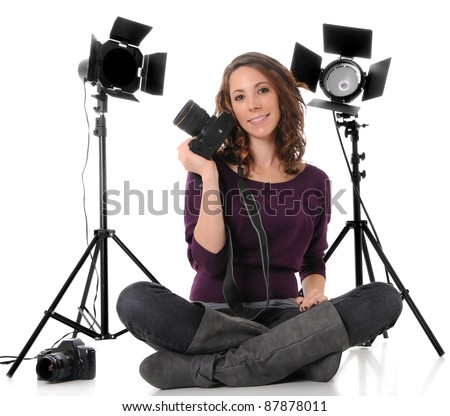 Photographer with Camera and Studio lights