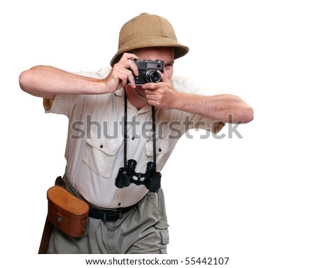 Photographer with camera dressed on suit for tropical destination. Studio shot isolated on white background.