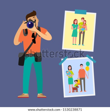 Photographer with digital camera taking photo. Man making picture, carrying case on belt. Samples of his work family pictures hanging on wall raster poster