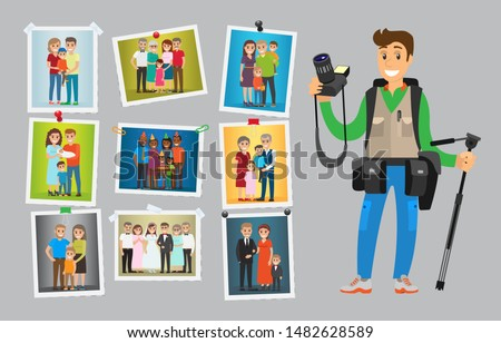 Photographer with digital camera taking photo. Man making pictures of weddings, birthdays and corporate parties. Samples of his works hanging on wall raster