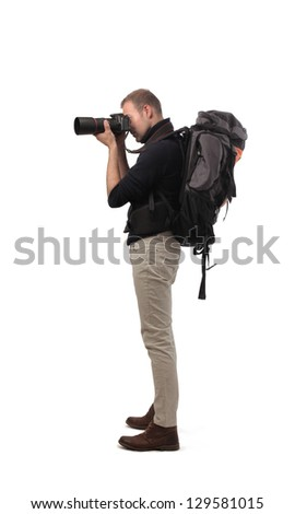 photographer with professional camera on white background