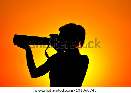Photographer woman silhouette