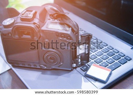 Photographer working space with sunrise