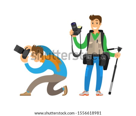 Photographers making picture with cameras and equipment for photo or tripod. Man carrying backpack, guy taking bottom angle raster illustrations.