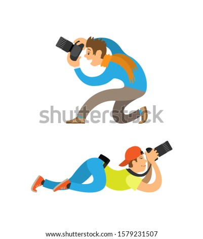 Photographers making picture with modern digital cameras from bottom angles. Man sitting or guy in cap lying to take photo raster illustrations set.