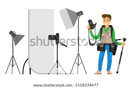 Photographers taking picture with photo equipment. Flashstand portable mounted flash speedlite flashgun isolated on white raster studio photographing gear