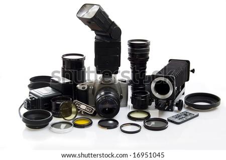 Photographic equipment isolated on white background.