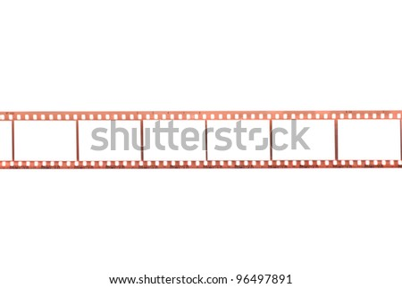 Photographic film with empty frames on white background