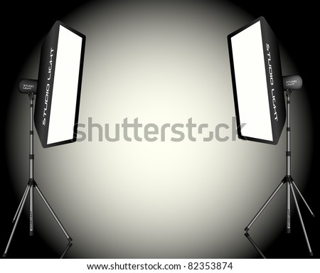 Photographic LIghting - Two Professional Studio Lights with Soft Boxes on Tripods