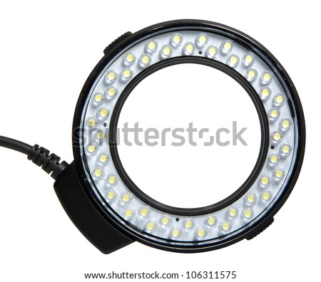 Photographic ring flash isolated on white