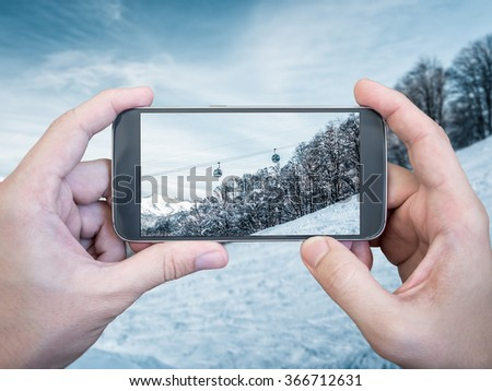 Photographing of Mountain landscape with smartphone