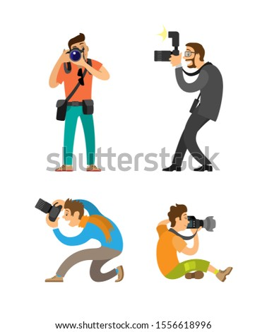 Photographing people set, photographer and paparazzi, modern cameras with flash. Man taking photos, journalist in glasses wearing suit raster illustrations.