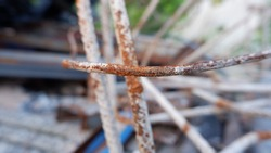Photographing rusted metal or steel parts that have become rusted, scrap iron, metal materials that have been left to rust.