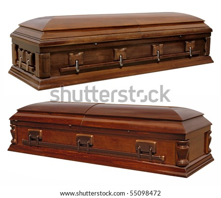 Photographs of two wooden coffins isolated on white.  Clipping paths included.