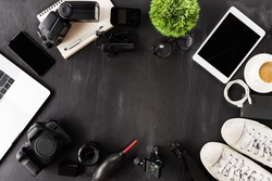 photography device on table top view