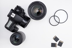 photography equipment and copy space over white background