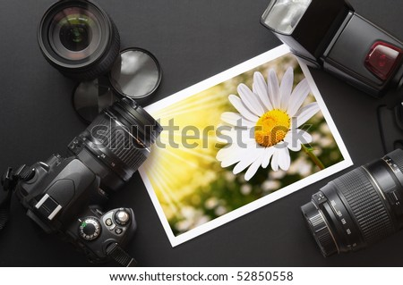 photography equipment like dslr camera  and image