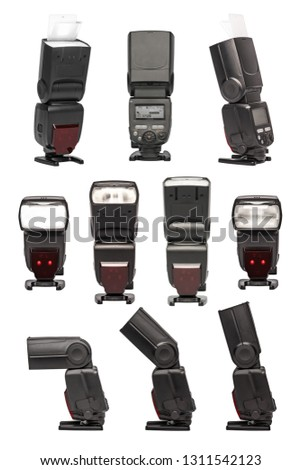 Photography flashes, speedlights, flash lights, strobes, flashguns in various angles and configurations. Clipping Work Paths Included in JPEG. XL File isolated on 255 white background. #1311542123