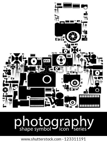 Photography icon symbols composed in the shape of a dslr camera